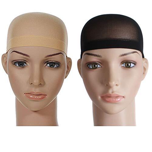 Ogquaton Perruque Net Cap Stretch Mesh Cap Cap Élastique Net Weaving Cap Wig Cap Bonnet Doux Mesh Dôme Perruque Pack of 2 Noir + Couleur De La Peau Créatif et Utile