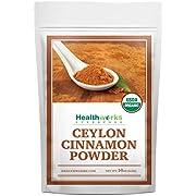 Healthworks Ceylon Cinnamon Powder Ground Raw Organic (16 Ounces / 1 Pound) | Keto, Vegan & Non-GMO | Great with Coffee, Tea & Oatmeal | Premium Antioxidant Superfood/Spice