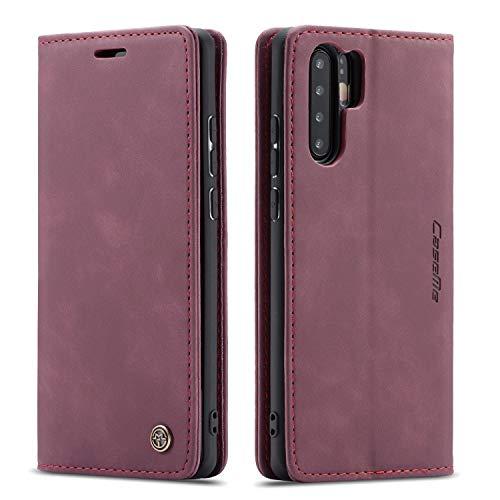 mvced Funda para Huawei P30 Pro,Funda Móvil Funda Libro con Tapa Magnética Carcasa,Vino Rojo