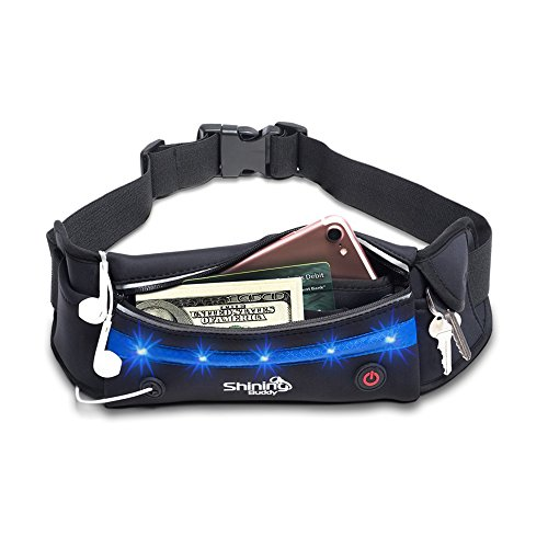 Reflective Running Belt w/ LED Light for Men + Women | Fits Most Waist Sizes No-Bounce Design | Water Resistant - Fits iPhone 8, XR, XS, SE 11, 12 & More | Black Fitness Jogging Pouch by Shining Buddy