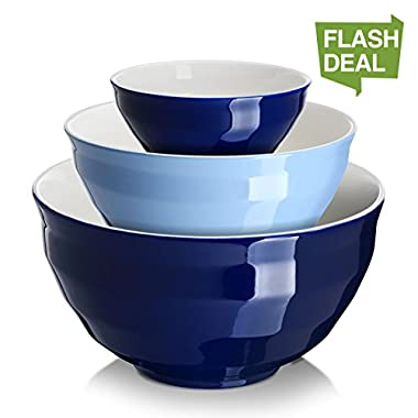 DOWAN Ceramic Mixing Bowls/Serving Bowl Set, Non-slip soft curve on the outside design of the bowls, 0.5 Qt - 2 Qt - 4.25 Qt - Cooking Supplies
