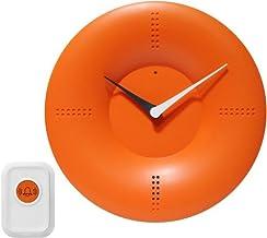 ساعة حائط عصرية 25.4 سم من إنفينيتي إنسترومنتس مع جرس تحكم عن بعد، برتقالي