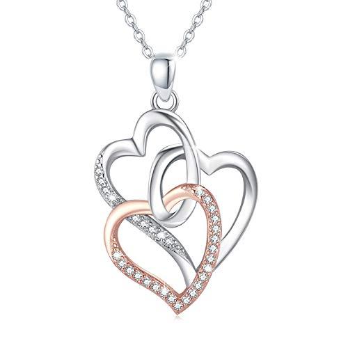 Drei Generationen Herz Kette für Damen, Mutter Oma Halskette Anhänger Schmuck 925 Sterling Silber Drei Herzen Halskette Generationen Muttertag Geburtstags Geschenk
