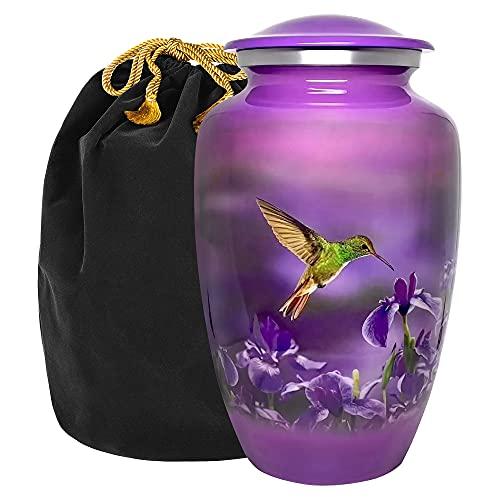 Natures Peace Hummingbird Adult Large Urn for Human Ashes - w Velvet Bag