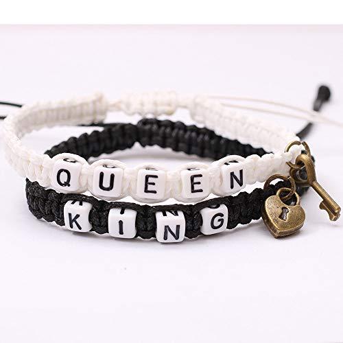 ANGYANG Pulsera Tejida,2 Piezas De Cuerda Blanca Y Negra con Letra Queen King Cube Key Lock Colgante Hecho A Mano Trenzado Ajustable Regalo De La Amistad para Niño Niña Parejas Hombres Mujeres