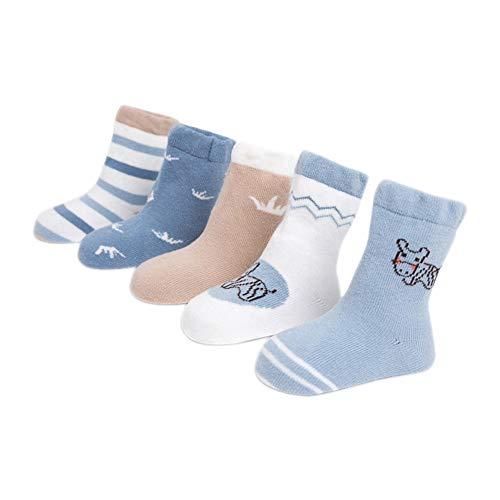 Fansi 5 Paires/Set Bébé Fille Chaussettes De Bande Dessinée Motif Hippo Automne Hiver Warmer Coton Épais Doux Chaussettes De Sport Size M (1-3 Ans)