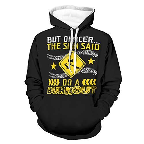 Pero Oficial el signo dijo a Burnout, sudadera con capucha para hombre, cmoda manga larga, sudadera con capucha, con bolsillos, Cosy Sport outwear blanco L