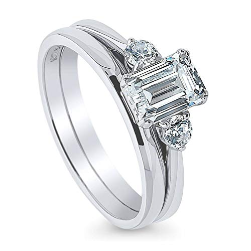 BERRICLE Rhodium Plated Sterling Silver 3-Stone Anniversary Engagement Wedding Ring Set Made with Swarovski Zirconia Emerald Cut 1.22 CTW Size 8.5