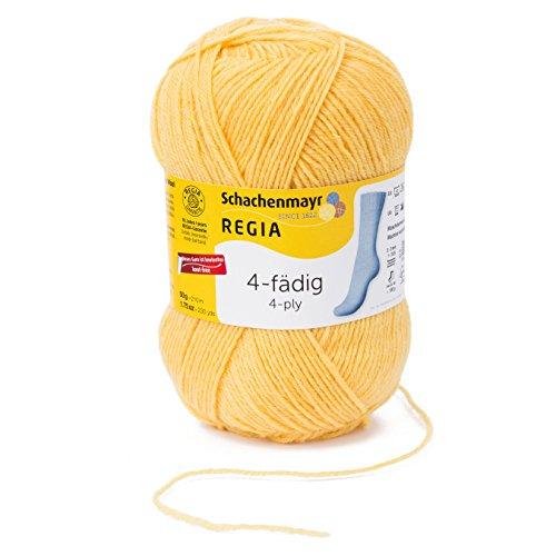 REGIA 4-fädig Uni 9801276-02041 gelb Handstrickgarn, Sockengarn, 50g Knäuel