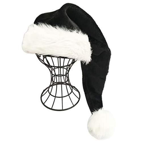 Black and White Deluxe Adults Santa Hat for Black Christmas Theme