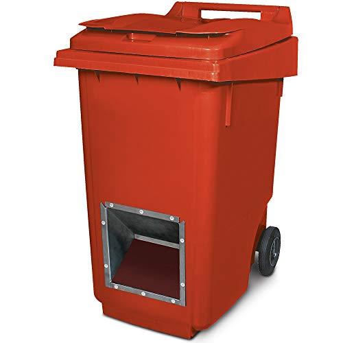 Mobiler Streugutbehälter, Streusalzbehälter 360 Liter, mit Entnahmeöffnung, auch für Streusplit, rot