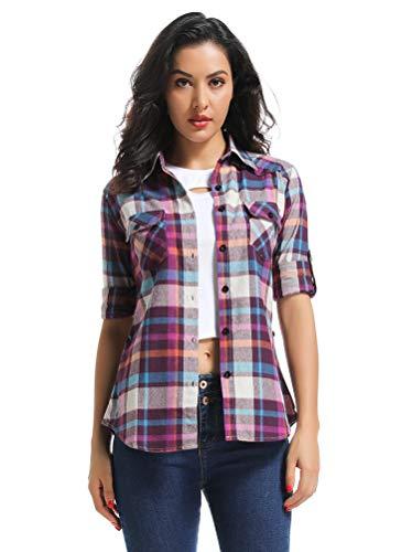 OCHENTA Women's Long Sleeve Button Down Plaid Flannel Shirt M009 Purple L