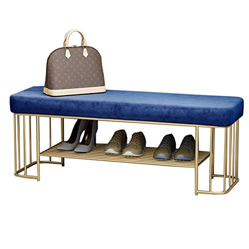 WHOJA Zapatero 80 / 100x35x45cm con cojín de Terciopelo 1 Estante de Metal Puede organizar 4-6 Pares de Zapatos Cambiar Banco de Zapatos Muebles Modernos de Pasillo Estantería
