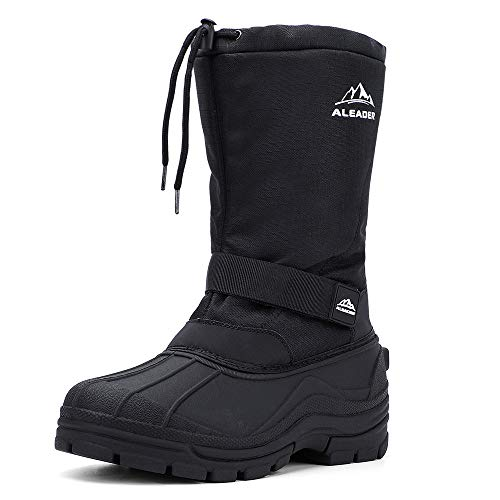 ALEADER Winter Boots for Men, Waterproof Snow Boots Hiking Shoes Black 10 D(M) US
