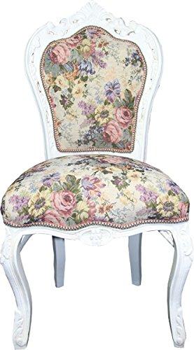 Casa Padrino Silla de Comedor barroca Patrón de Flores/Antique White Mod 2 - Muebles de Estilo Antiguo