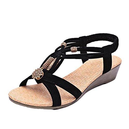 Elecenty Sandalen Damen,Schuhe Schuh Sommerschuhe Bequeme Sandaletten Frauen Sommer Schuhe Offene Flache Badesandalette Geflochten Freizeit Elegante Keilsandaletten Strandschuhe (36, Schwarz)
