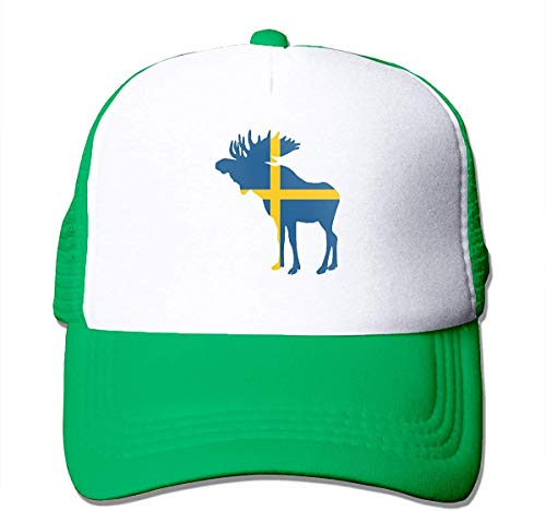 Preisvergleich Produktbild Voxpkrs Swedish Flag and Moose Adjustable Mesh Trucker Baseball Cap Men / Women Dad Hat Comfortable7832