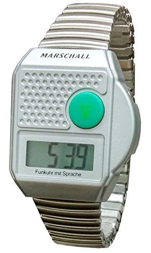 Digitale Funk Armbanduhr mit Sprachausgabe , Sprechende Blindenuhr , Uhr mit Flexarmband
