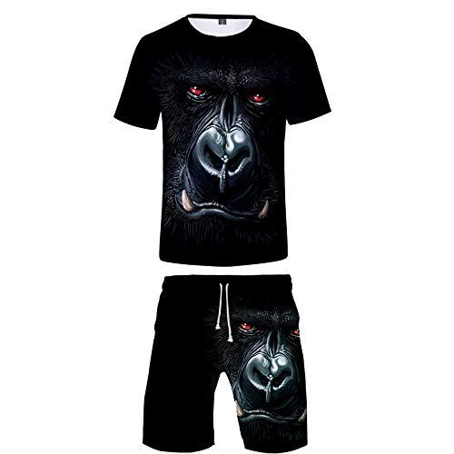 HHKLSF Männer 3D Drucken Sommer Sets 2 Stück Freizeitanzug Kurzarm Rundhals T-Shirt Und Kurze Hose Shorts Herren Lounge Crew-Neck Zweiteiliger 3D Gedrucktes Muster, Gorilla 7, M.