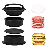 Aqualin Prensa para hamburguesas 3 en 1, juego de prensa para hamburguesas con 100 hojas de papel de horno, perfecta para hamburguesas, patties o albóndigas, resistente y apto para lavavajillas