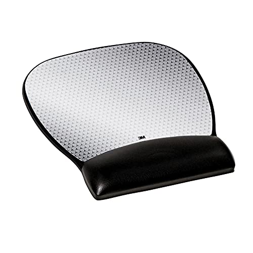 3M Precise Mouse Pad with Gel Wrist Rest, Soothing Gel Comfort with Durable, Easy to Clean Leatherette Cover, Optical Mouse Performance and Battery Saving Design, 9.2' x 8.7', Black (MW310LE)