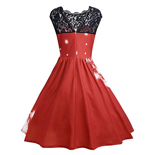 Elegant Lace Stitching Evening Dress Womens Santa Riding Reindeer Print Dress for Party Red