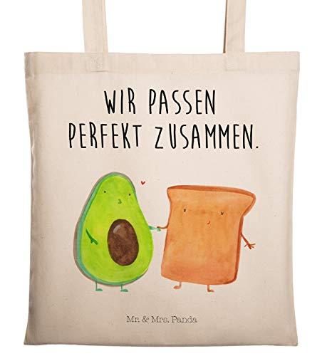 Mr. & Mrs. Panda Baumwolltasche, Stofftasche, Tragetasche Avocado + Toast mit Spruch - Farbe Transparent