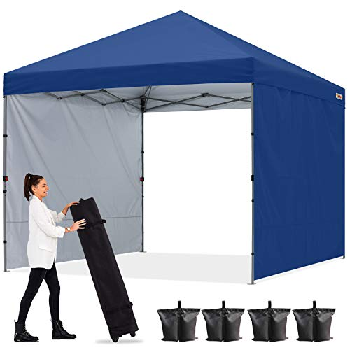 ABCCANOPY Gazebo desplegable de 2 x 2 m con dos paredes de sol, totalmente impermeable, comercial instantáneo, bolsa de ruedas, bolsas de arena, 4 Stakesx4 (marco gris)