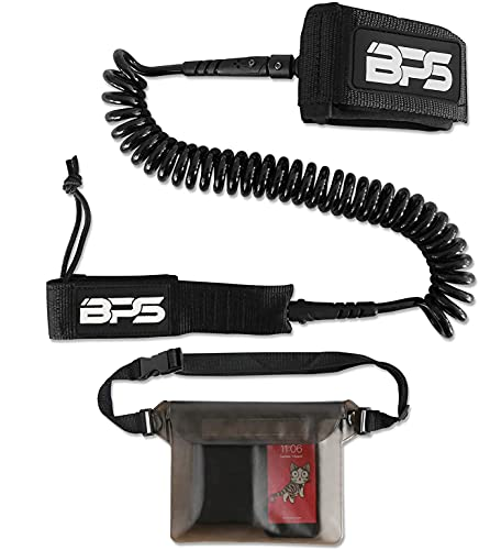 BPS 'Storm' Premium Coiled SUP Paddle Board Leash with Waterproof Waist Bag - 10 Foot Surfboard Leash with Triple Rail Savers and Double Stainless Steel Swivels (Black)