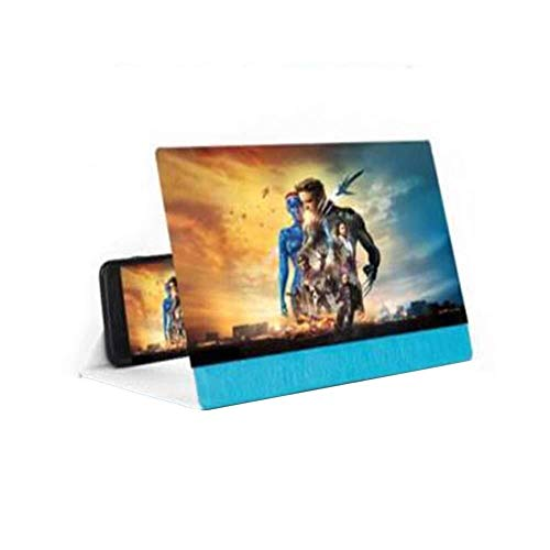 HJXSXHZ366 loep voor mobiele telefoon, 12 inch, acryl beeldscherm, opvouwbare 3D-smartphone-beeldschermloep, zoom-beeldschermversterker, beschermer, oogtelefoonstandaard, opvouwbare standaard, blauw blauw
