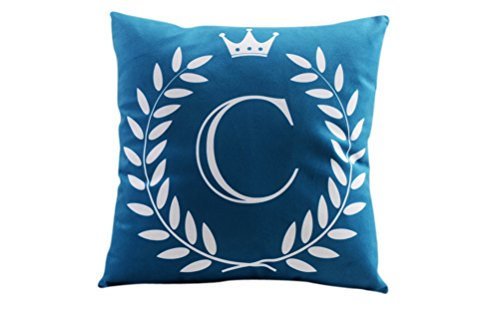 "ZUODU 45X45CM Letter Crown Printing Peach Skin-Like Decorative Pillow Cover Cushion Cover 18x18"" Free Combination (Letter C)"