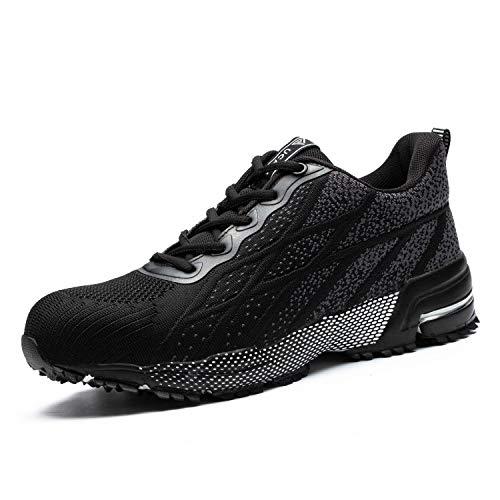 UCAYALI Zapatos de Seguridad Hombre Trabajo Zapatillas Trabajar Calzado de Seguridad con Punta de Acero(Negro Degradado, 45 EU)