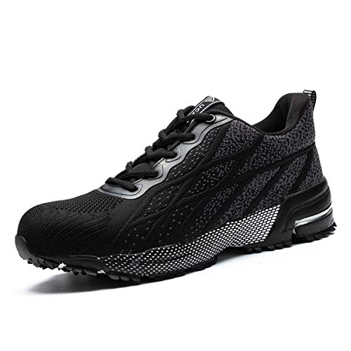 UCAYALI Zapatos de Seguridad Hombre Trabajo Zapatillas Trabajar Calzado de Seguridad con Punta de Acero(Negro Degradado, 43 EU)