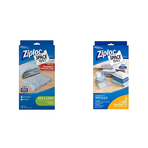 Ziploc Reusable Clothes Storage Bags, 2 Jumbo Vacuum Seal Storage Bags, Space Bags & Reusable Clothes Storage Bags, 2 Piece Cube Combo Vac Bags, 1 Large Cube, 1 XL Cube, Space Bags