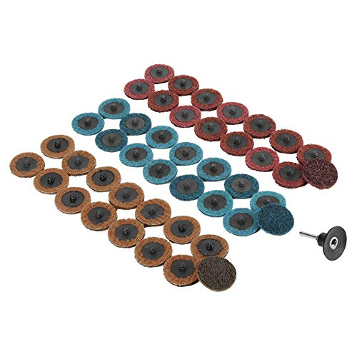 """2"""" Sanding Disc 180/320/400 Grit Flap Disc Sanding Polishing Grinding Wheel Sandpaper Pads Red/Yellow/Blue(15Pcs of Each Color) Pack of 45 with Grinding Base&Mandrel"""
