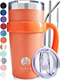 ALBOR Triple Insulated Stainless Steel Tumbler 20 oz Peach Coffee Travel Mug With Handle