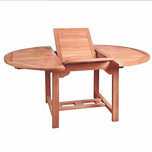 Mesa de jardín Extensible Kayla Ovalada de Teca Natural de 120x100x75 cm - LOLAhome