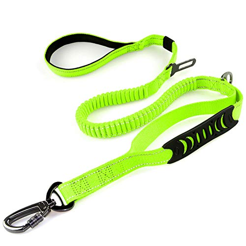 Heavy Duty Dog Leash Especially for Large Dogs Up to 150 lbs, 4 Ft Pulling Bungee Shock Leash for Dog Walking Training, Reflective Pet Leash with 2 Padded Traffic Handle and Car Seat Belt Buckle