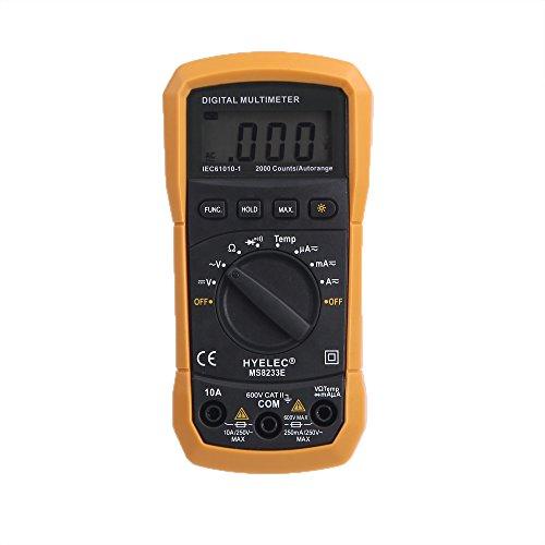 HYELEC MS8233E 2000Cuenta Autorange AC/DC Voltaje Corriente Resistencia Temperatura Digital Multímetro W/luz de fondo