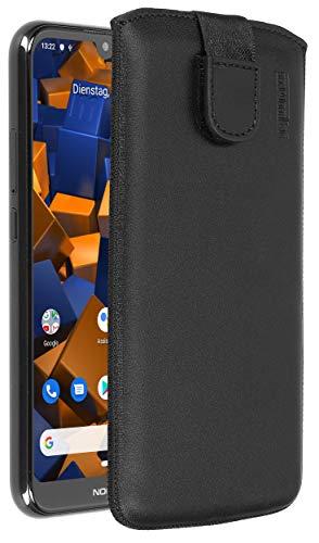 mumbi Echt Ledertasche kompatibel mit Nokia 4.2 Hülle Leder Tasche Hülle Wallet, schwarz