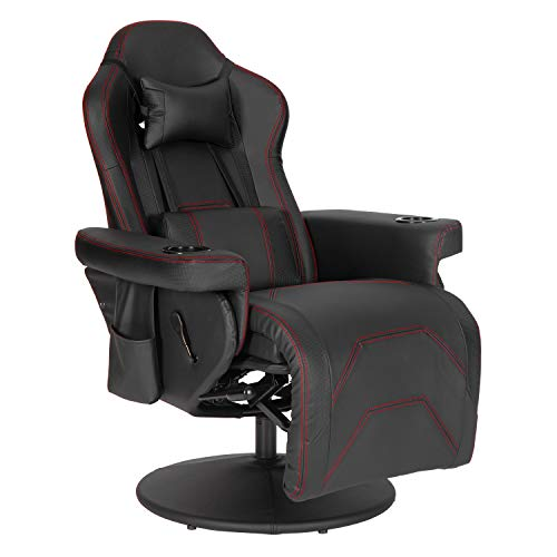 Modern-Depo Video Gaming Recliner Chair Ergonomic High Back Swivel Reclining Chair with Cupholder, Headrest, Lumbar Support, Adjustable Backrest and Footrest, Black