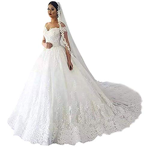 Women's Lace Appliques Tulle Bridal Dresses Long for Wedding Off Shoulder A-Line Bride Ball Gowns with Sweep Train White 6 (Apparel)