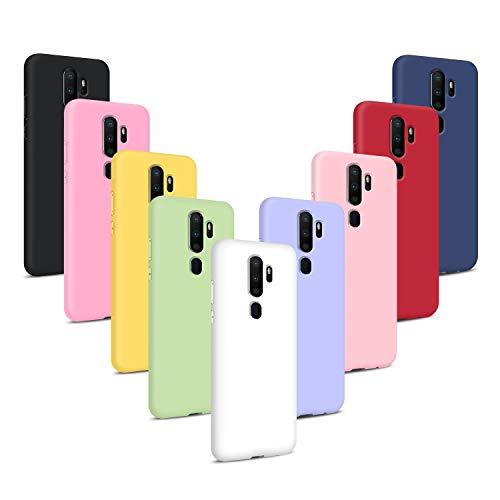 9X Funda para OPPO A9 2020, Carcasas Flexible Suave TPU Silicona Ultra Delgado Protección Caso(Rojo + Rosa Claro + Púrpura + Amarillo + Rosa Oscuro + Verde + Negro + Azul Oscuro)