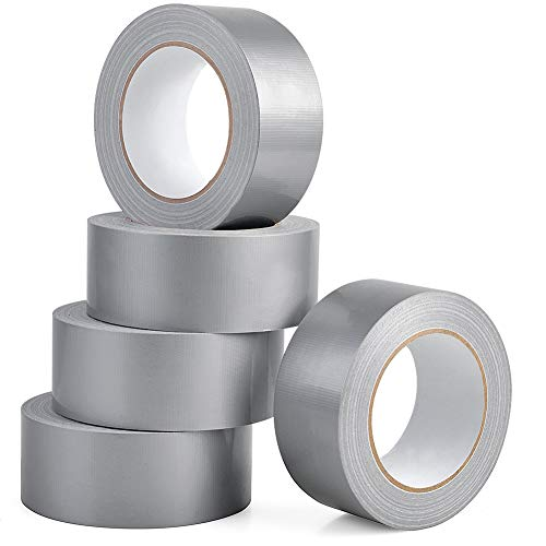 Heavy Duty Silver Duct Tape, Professional Grade Multi-Use Duct Tape, 48mm x 32m (1.88 inches x 35 Yards), 8.27 mil Thickness, Silver, 5 Rolls