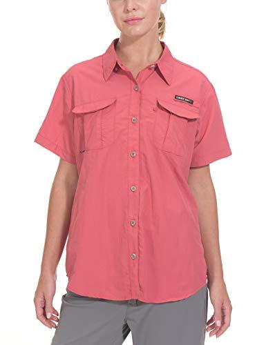 Little Donkey Andy Damen UPF 50+ UV Schutz Shirt Kurzarm Angelshirt Atmungsaktiv und Schnell Trocknet Pale Khaki, Damen, wassermelone, Large