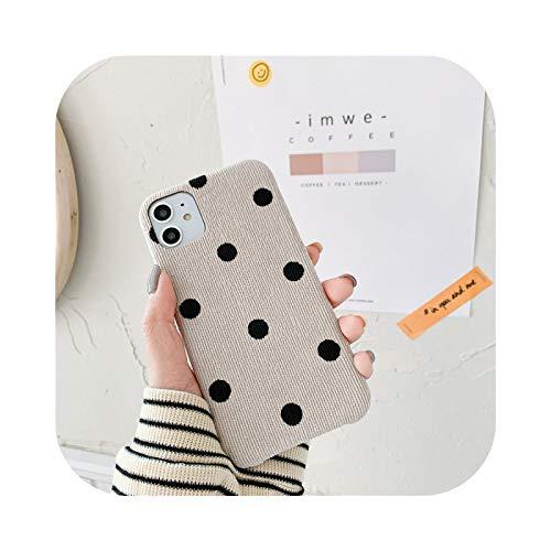 Funda de tela de lunares para iPhone 11 7 8 Plus X Lindo Pana Otoño Cubierta Para iPhone 11 Pro Max XR SE 2020 XS Case Soft White-SE 2020