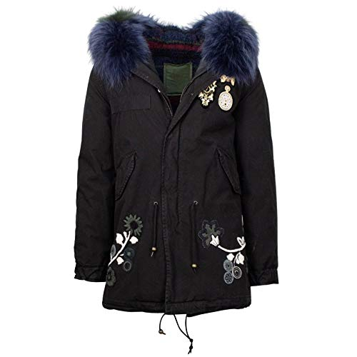 Mr & Mrs Italy Women's Canvas Embroide Midi Parka Coat S M Black