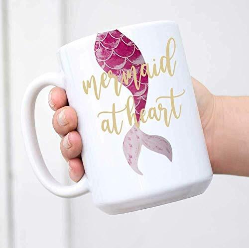 N\A Taza de cerámica Reutilizable para café, té, Novedad, Linda Sirena en el corazón, café o té Caliente, 11 oz