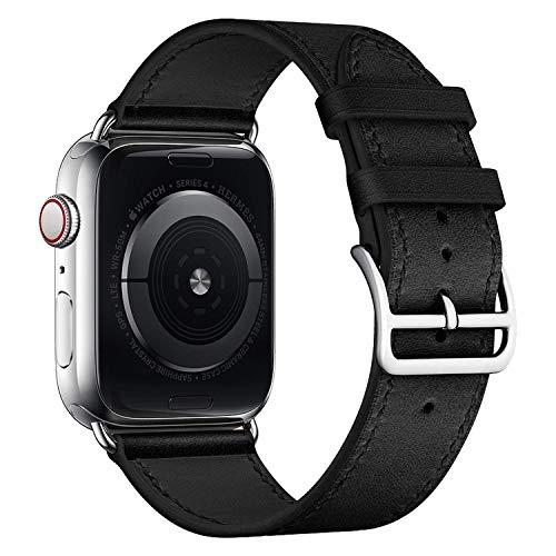 iBazal Horlogebandjes compatibel met iWatch Serie 5 4 Riem 44mm lederen 42mm Serie 3 Serie 2 Serie 1 Pols horlogeband Polsbandjes Vervangende armbanden voor mannen met zilveren gesp - Zwart 42/44
