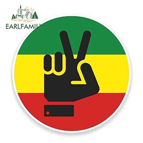 FAFPAY Sticker de Carro 13 cm x 13 cm Rasta Peace Hand Jamaica Etiqueta engomada del Coche Parachoques Emblema JDM Vinilo 3D Car Styling Accesorios calcomaníasEstilo A